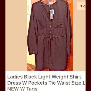 Black tie waist shirt dress size L NEW W TAGS